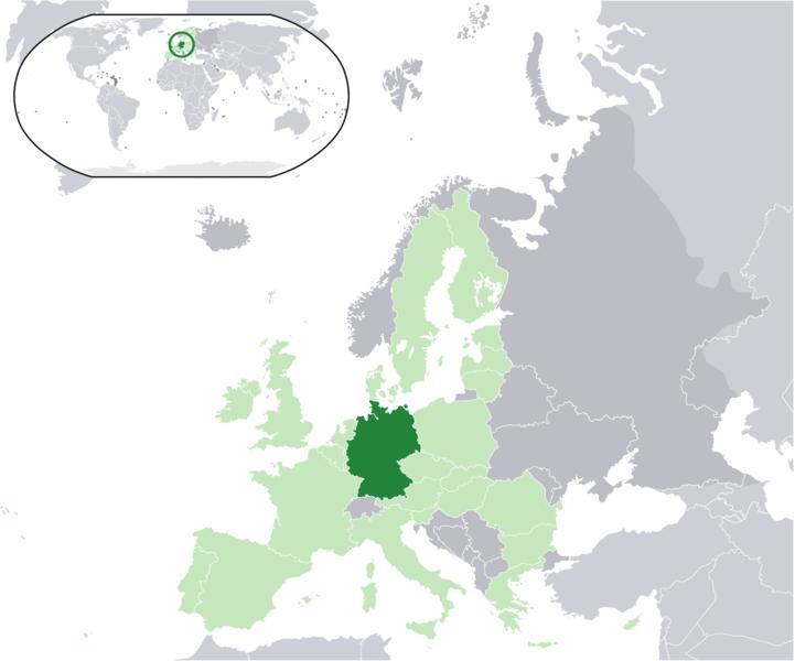 Mapa de la republica de  Alemania