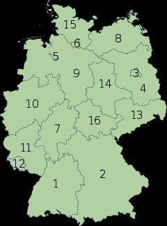 Divicion administrativa de Alemania mapa