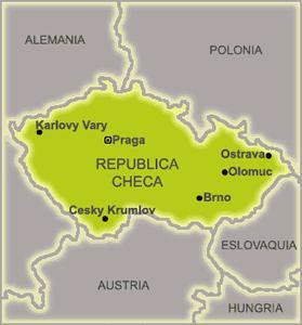 Mapa de la republica de Republica Checa