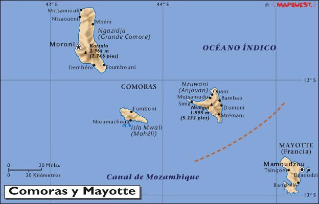 Mapa de la republica de Comores