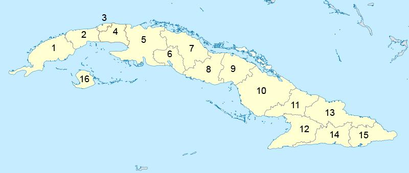 Mapa de las subdivisiones politicas de cuba