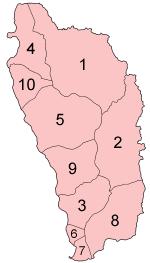 Mapa de las parroquias de Dominica