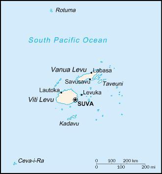 Mapa de la republica de Fiyi