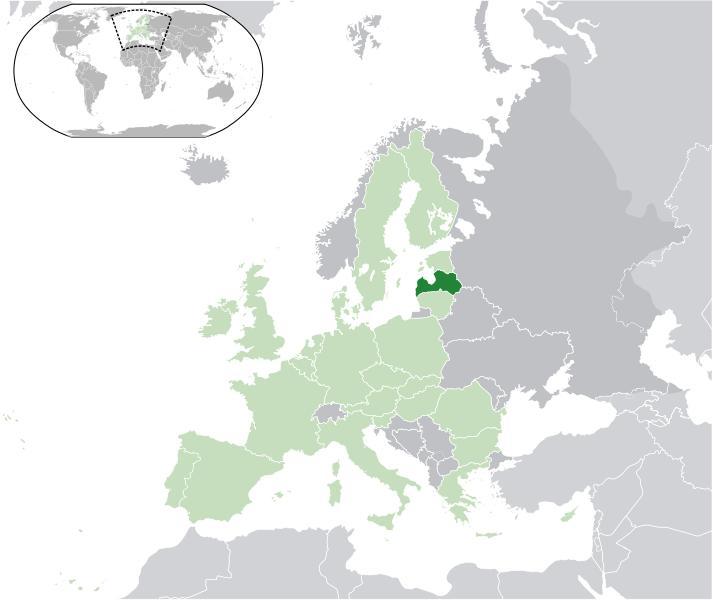 Mapa de Letonia Ubicacion Continental