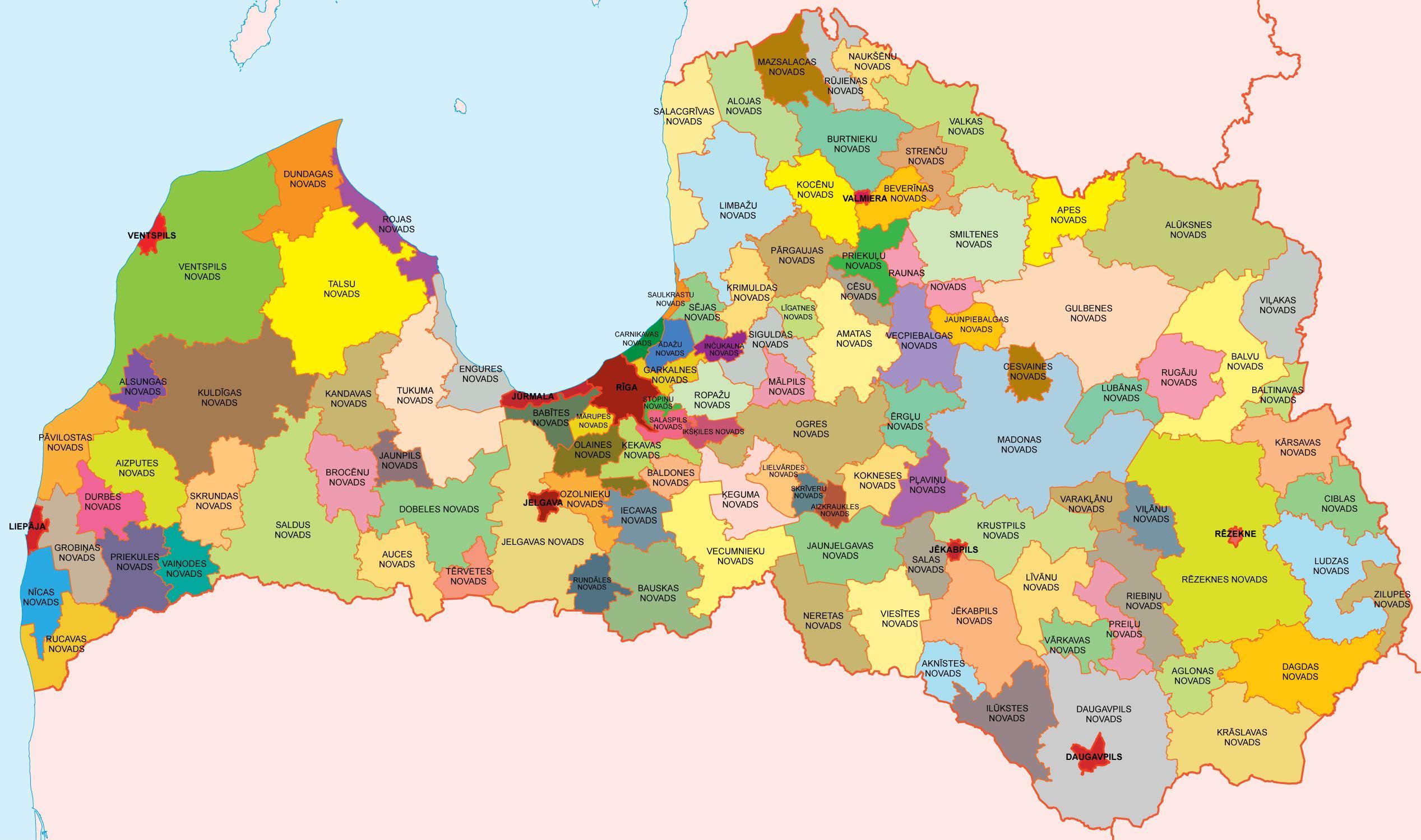 Mapa de Letonia  Organizacion Territorial Apartir del 1 ro de Julio del 2009 [118 Municipios(109 Municipios y 9 Ciudades)]