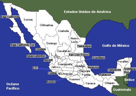 Mapa de Mexico con divicion