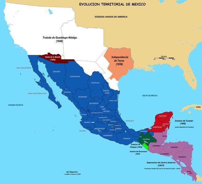 Mapa de la evolucion territorial de mexico en los ultimos siglos